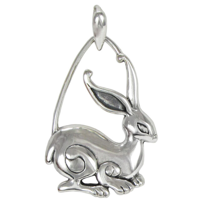 Solid Sterling Silver Rabbit Pendant Jewelry Symbol of Prosperity and Fertility
