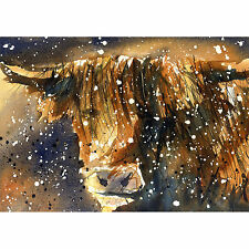 HIGHLAND COW PRINT from watercolour painting farm animal art present Large A3
