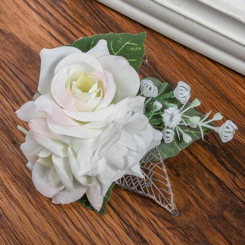 Femmes Rose Fleur épingle à cheveux clips Cheveux Peignes Grip demoiselle d/'honneur Chiffon Fleurs Broche