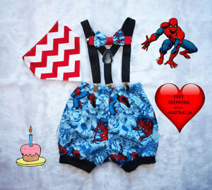 Image Is Loading Cake Smash Boy Boys Spiderman Outfit 1st Birthday