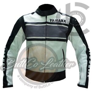 BIKER-JACKETS-Grey-YAMAHA-5241-Genuine-Leather-Motorbike-Motorcycle-Armour-Coat