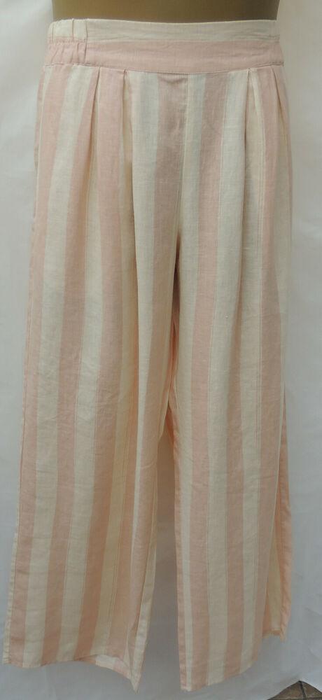Brillant Nouveau Rihanna River Iland-à Rayures Rose Jambe Large Lin Pantalon-taille 12