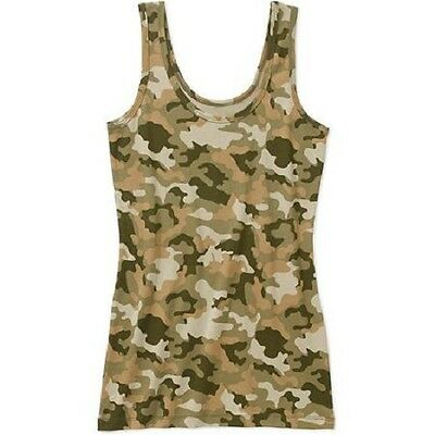 WOMENS JUNIORS SOFT JERSEY KNIT LAYERING TAMI TANK  CAMO (green)