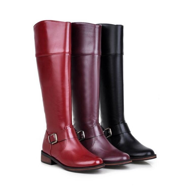 Ladies Riding Boots Flats Knee High Boots Leather Zip Up Buckle Boots shoes 2018