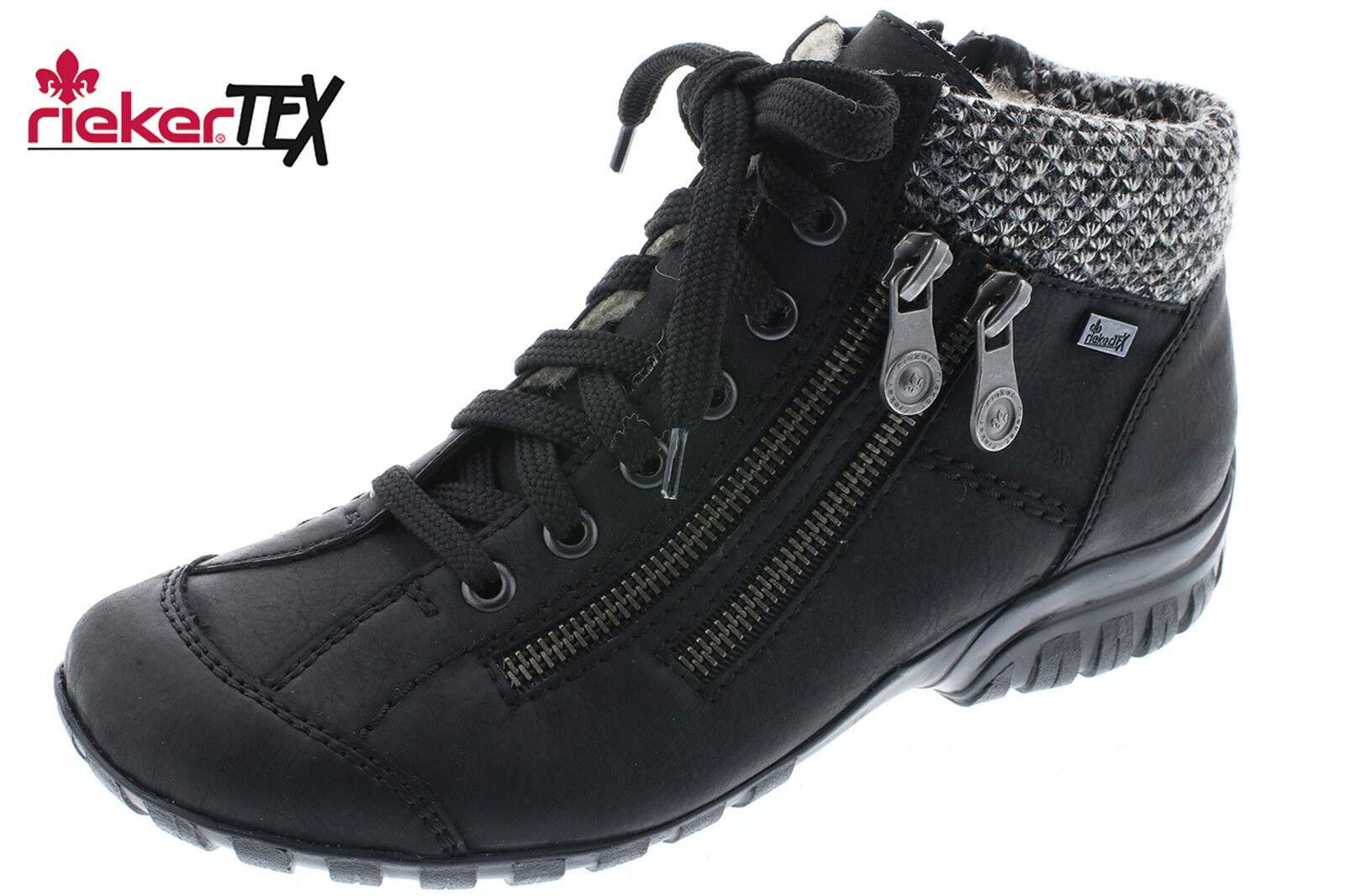 Rieker Tex Damen Stiefel Schwarz Winter Sneaker Schurwollfutter L4614-01 NEU