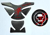 Suzuki Hayabusa Carbon Fiber +red Kanji Tank Protector Pad +cap Filler Cover Kit