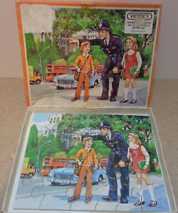 Vintage Victory wooden Jigsaw Puzzle Helpful people series The Policeman 30 pcs
