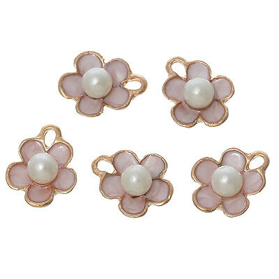 10PCs Acrylic Pearl Charm Pendants Flower Gold Plated Pink Enamel