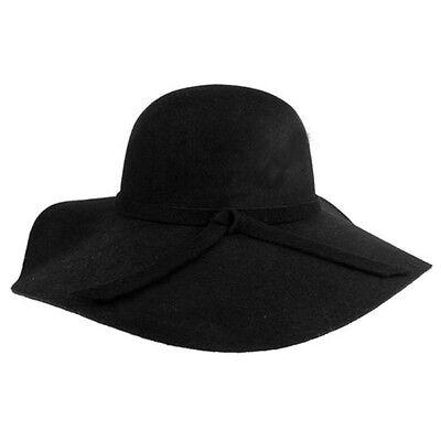 New Style Soft Women Vintage Wide Brim Wool Felt Bowler Fedora Hat Floppy Cloche