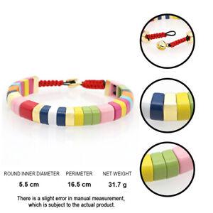 Gold-Button-Rainbow-Tile-Jewelry-Bangle-For-Women-Enamel-Bracelet-Boho-Bracelets