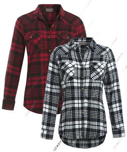 NEW-Ladies-Shirt-Womens-Checked-Tartan-Blouse-Long-Sleeved-Size-8-10-12-14-Check