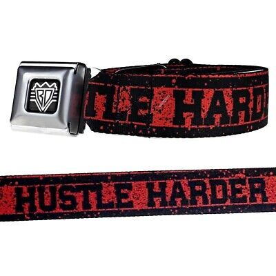 Hustle Harder Seatbelt Style Belt Buckle Down Red /& Black Lettering Men SZ 24-42