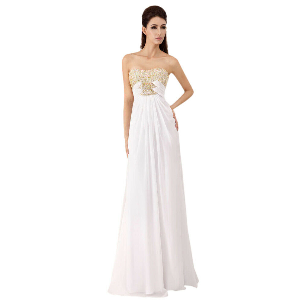 Angela & Alison Prom Dress Formal Evening Gown Style 41026 White Size 6