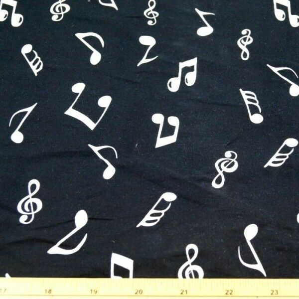 Music Musical Notes Polycotton fabric 44 inch //110cm Half Metres black symbols