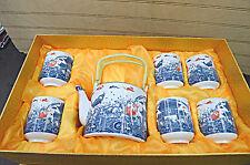 Fine Porcelain Color Fish & Scene Design Tea Pot Set  With 6 Cup