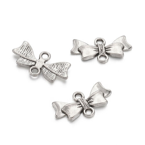 50x Alloy Antique Silver Bowknot Links Charms For DIY Jewelry /& Crafts 20x10x3mm