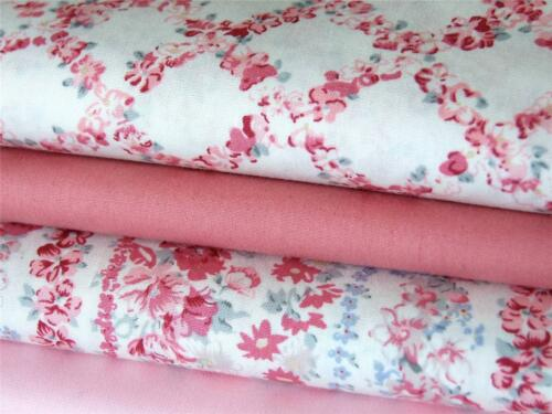 Pale PINK vintage country floral 100/% COTTON fabric craft bunting dressmaking