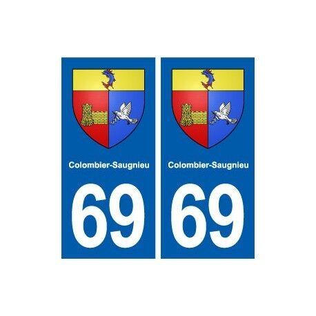 69 Colombier-Saugnieu blason autocollant plaque stickers ville droits