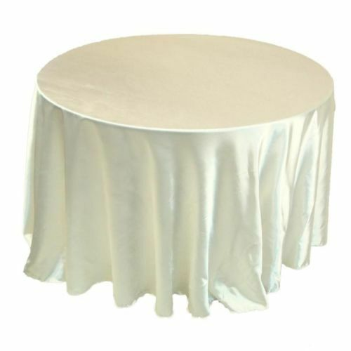 132 inch round satin tablecloth 21 colors table cover wedding 132 inch round satin tablecloth 21 colors table cover wedding banquet catering ivory ebay junglespirit Choice Image