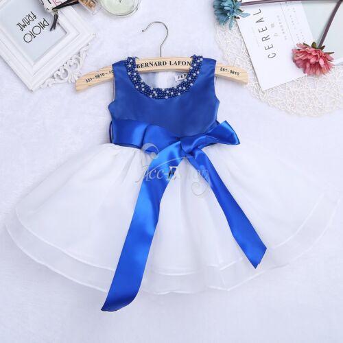 Fleur Fille Princesse Bébé Baptême Baptême Parti robe de mariage perles Robes