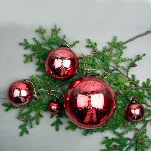 1 Large Antique Red Glass 13cm Mercury Xmas Bauble Snowflake Etched Vintage