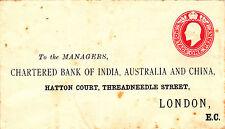GB : CHARTERED BANK OF INDIA, AUSTRALIA & CHINA, EDW VII COVER (1900s)
