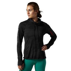 diseño atemporal 80ac0 17cb6 Detalles de Reebok Crossfit sudadera con capucha para mujer de capacitación  cordura jacquard negro que absorbe Funcionando- ver título original