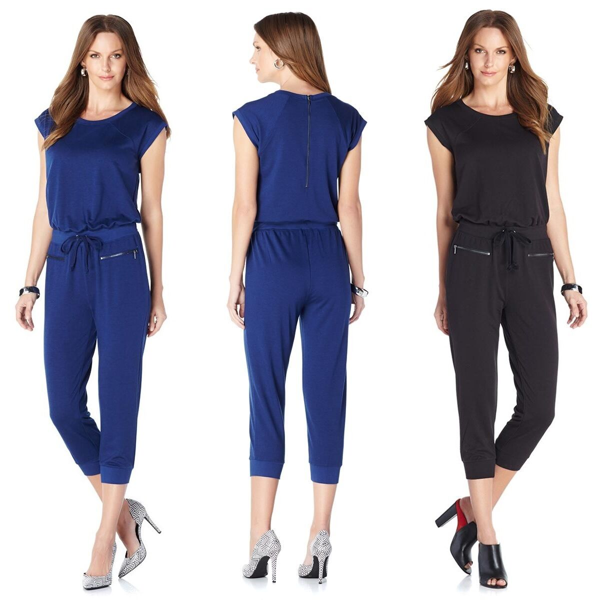 Serena Williams Cap-Sleeve Jumpsuit w Zipper Detail 405841-J (3X)