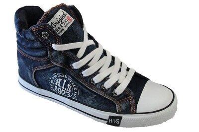 H.I.S Jeans Herren Schuhe High Top Sneaker 39 40 41 42 43 44 45 46 Blau Schwarz