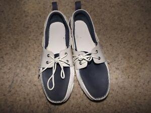 Crocs-men-039-s-blue-gray-white-rubber-boat-shoes-12027-size-11-12