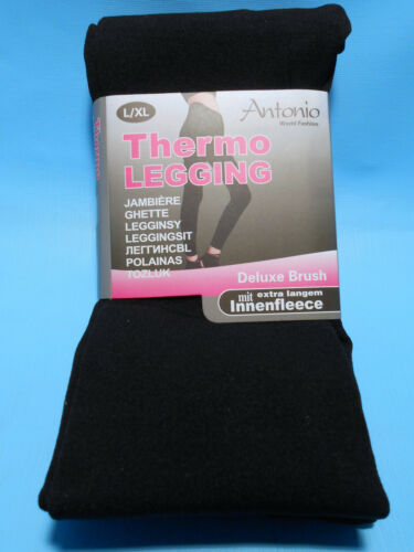 trendy Damen Thermo Legging Leggings schwarz S M L XL XXL neu
