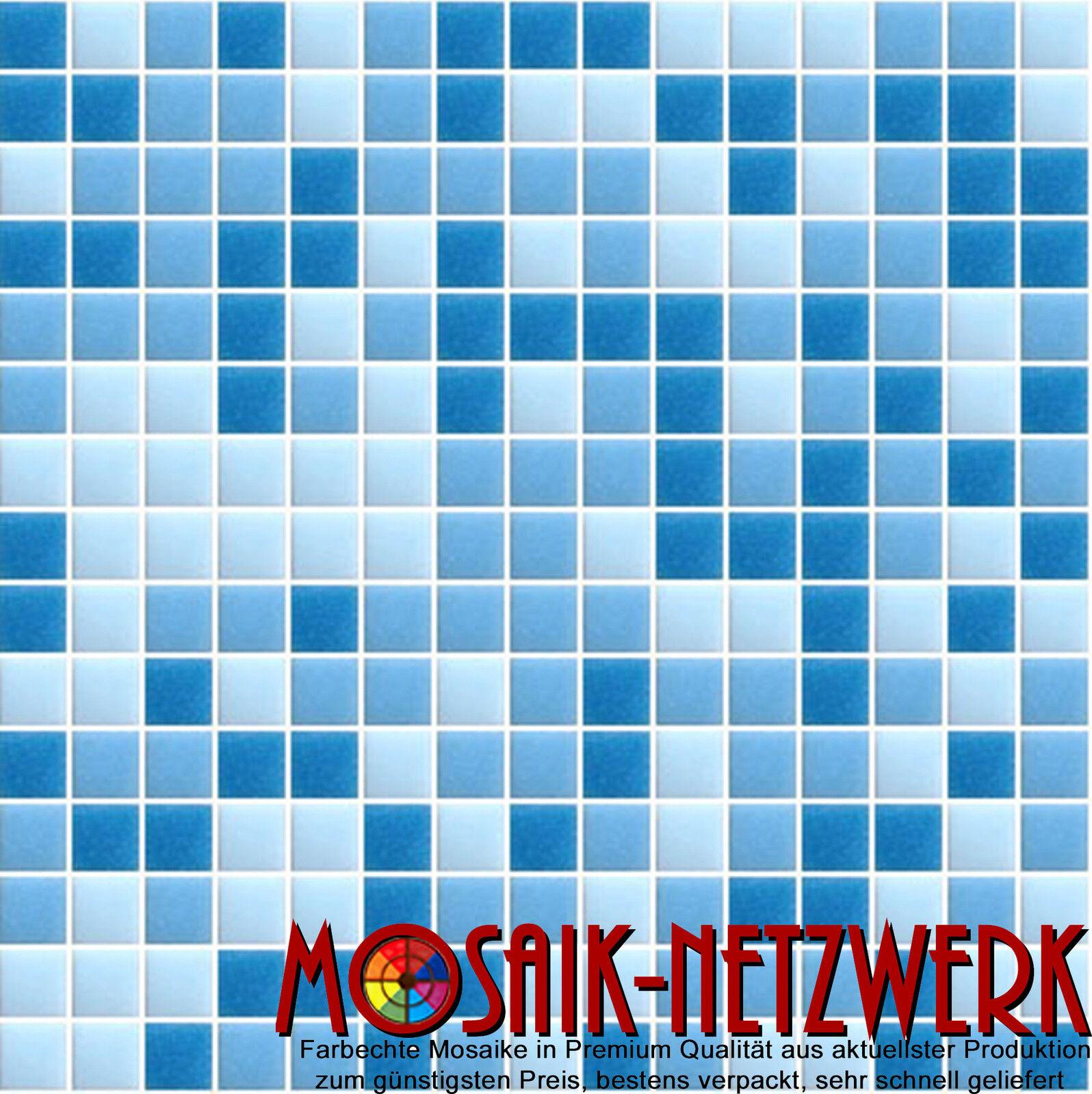 Glasmosaik Fliese Mischung Mix hellblau Bad Schwimmbadmosaik Art 210-0406   1 qm
