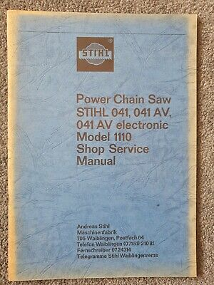 Stihl 041 041av And 041ave Chainsaw Shop Service Manual Old Stock Ebay