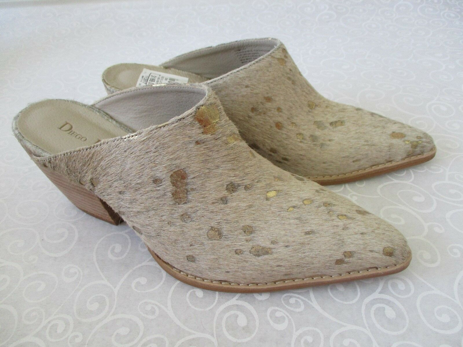 DIEGO DI LUCCA CAMEL OPEN TOE 100% LEATHER COW 1/2 HAIR Schuhe SIZE 7 1/2 COW M - NEW 82ef7c