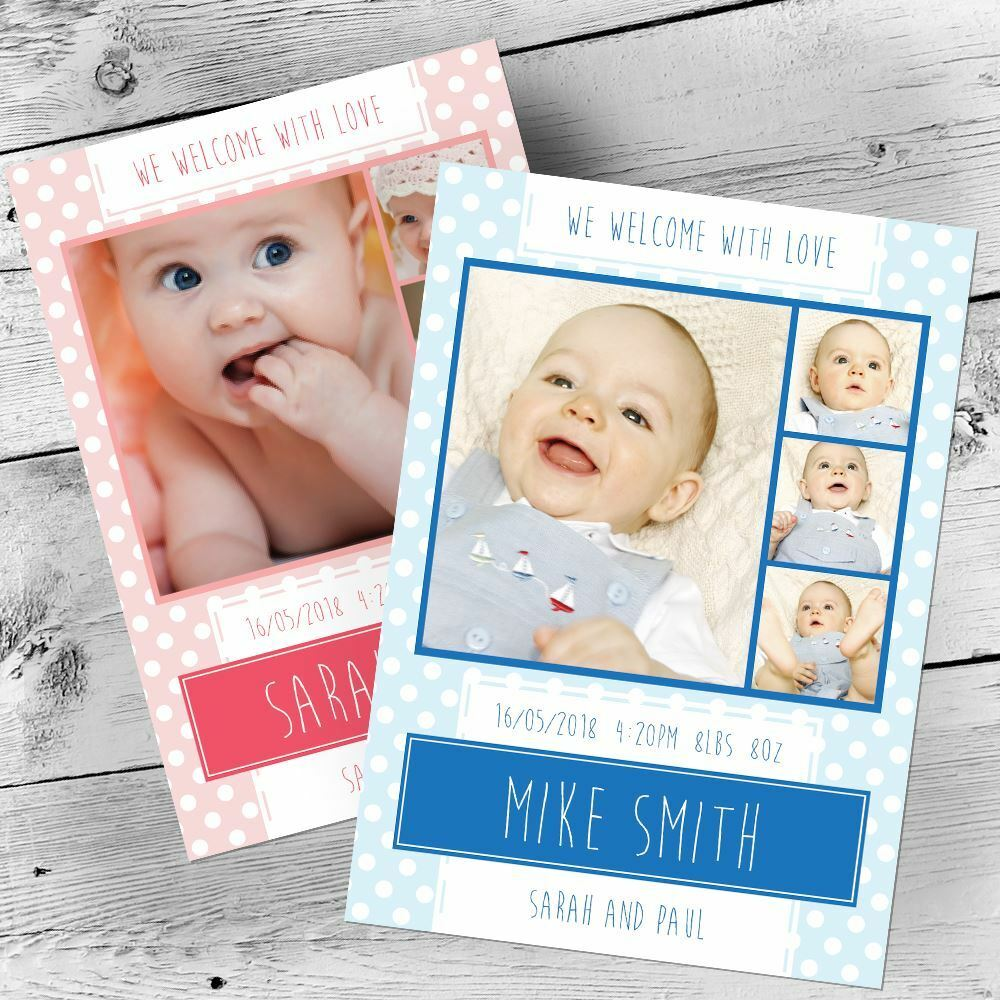 Personalised Photo Thank You Cards Announcement Boy Christening Baby
