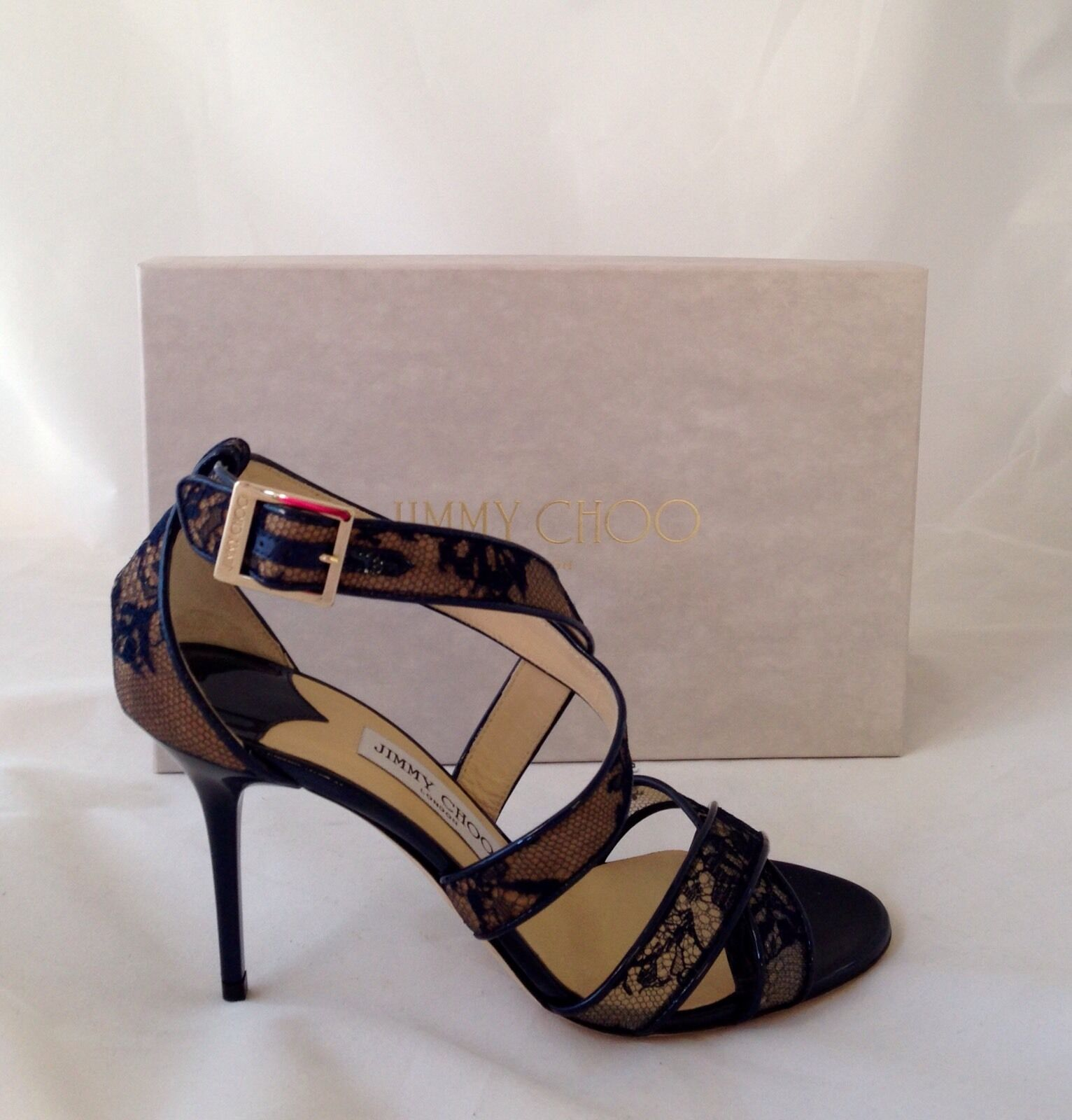 NIB Sz 9.5  850 Jimmy Choo 'Loiuse' Navy Blue Lace -Stilletto Heels eu 39.5