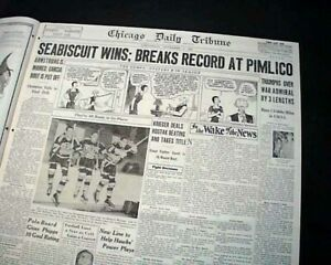 SEABISCUIT-Wins-War-Admiral-Horse-Racing-039-Match-of-the-Century-039-1938-Newspaper