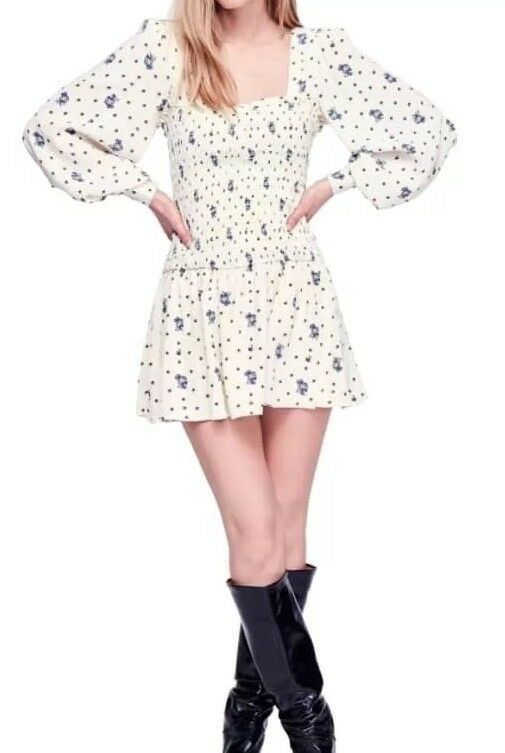 Free People Two Faces Print Minidress Size L New Ivory