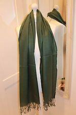Emerald Green Pashmina Silk Shawl Scarf Wrap Summer Handmade Fine Knit Gift Wool