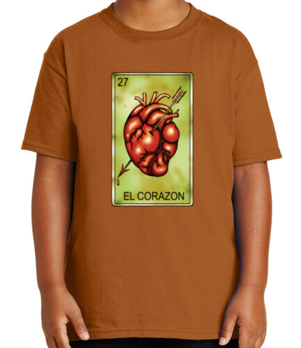 1794C El Corazon Number 27 Kid/'s T-shirt Mexican Chicano Loteria Tee for Youth