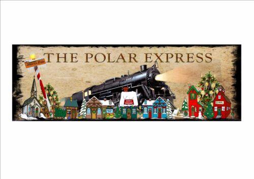 Vintage Style The North Pole Polar Express Christmas Sign Secret Santa Gift Idea