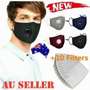 Respirator &10 Filters P2 Washable Adjustable Anti Air Pollution Face Mouth Mask