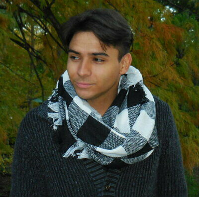 Navy and White Buffalo Plaid Woven Infinity Scarf with Fringe