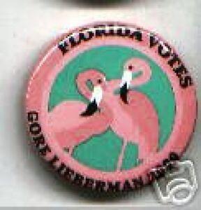 Pink-FLAMINGO-2000-pin-FLORIDA-Gore-Lieberman-ART-DECO-Design-Campaign-pinback