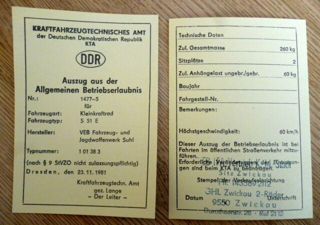 5 stk blanko DDR Betriebserlaubnis SIMSON S51E KTa Nr 1477-5 ENDURO ABE Papier