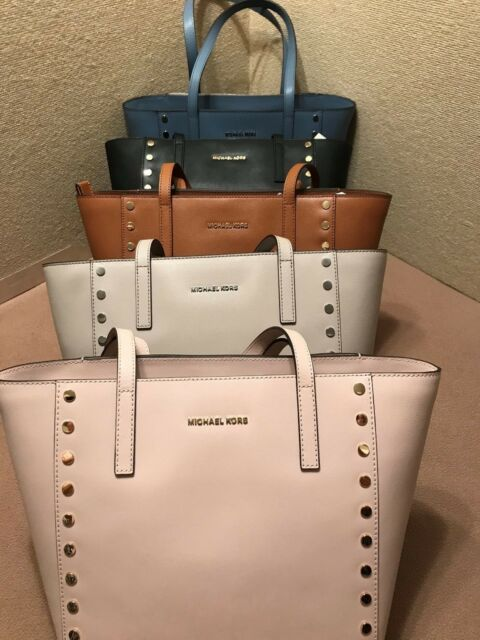 33d3f58ea1d3 Michael Kors Tote Handbag Medium Leather Colors Blue Denim Black Pink  Cement Brn