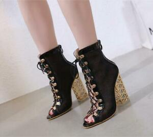 lace up block heel boots open toe
