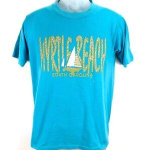 Myrtle-Beach-Mens-Medium-Blue-T-Shirt-Sailboat-Single-Stitch-Jerzees-Vtg-1996