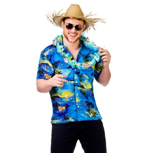 Adult HAWAIIAN SHIRTS Summer Party Stag Fancy Dress Costume Men/'s Beach Tropical