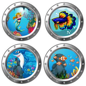 3D Sea Life Wall Stickers Undersea Animals Dolphin Turtle Decal Vinyl Bathroom
